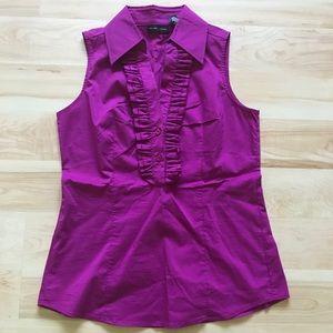 Fuchsia/Pink sleeveless stretch dress shirt XS